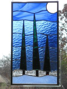 Stained Glass Panel Trees Listen to the Calm