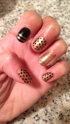 Dots! Gold and Black Nail Design Cool Nail Designs For ppl who love Gold! Done with Shellac