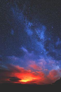 elvenlake:  Milky Way and the Bárðarbunga Volcano
