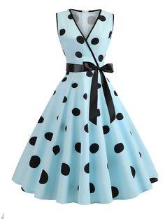 Vintage Swing Dress V Neck Polka Dot Bow Sash Summer Dress Source by karlisscortez Kleider Elegant Midi Dresses, Pretty Dresses, Beautiful Dresses, Casual Dresses, Fashion Dresses, Summer Dresses, Awesome Dresses, Cheap Dresses, Plus Size Vintage Dresses