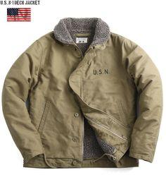 N-1 deck jacket called the masterpiece we produced new U.S. Navy U.S.NAVY n-1 deck jacket plain U.S.N stencil KHAKI U.S. Navy winter