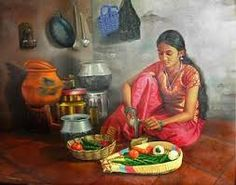 Image result for tamil woman cooking Indian Artwork, Indian Art Paintings, Original Paintings, Indian Women Painting, Indian Artist, Om Namah Shivaya, Bollywood Stars, Indian Illustration, Art Village