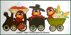 THANKSGIVING TRAIN paper piecing for Premade Scrapbook Pages Die Cut by Rhonda #Unbranded
