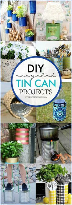 DIY Recycled Tin Can Projects - These tin can crafts, organization, and home decor ideas are brilliant and easy to make! PIN IT NOW and make them later!