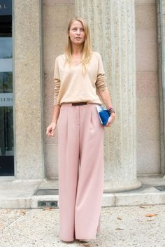 Exaggerate a longer silhouette with wide leg trouser pants.