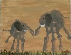 Elephants handprint painting