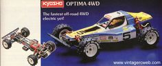 """Vintage Kyosho RC Cars - The OTIMA 4WD circa 1983. Kit#-3032. Drivetrain-4wd. Motor-RS-540. Lenght-15.94"""""""