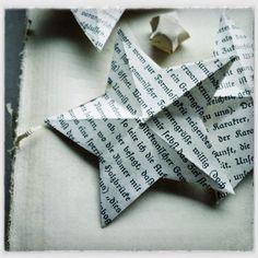 Sterne aus Buchseiten inkl. Vorlage zum Ausdrucken