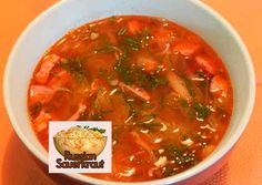 Solyanka is a traditional Russian soup with various kinds of sausages, meat, pickled cucumber and sauerkraut. It is delicious and easy for cooking.
