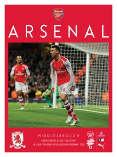 v Middlesbrough. February 15, 2015. The official Arsenal Matchday programme.