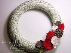 stamp it with Jen: Yarn wreaths with Felt flowers