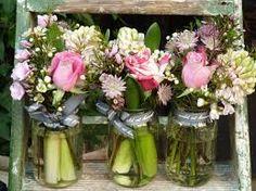 Pink and white flower jam jars