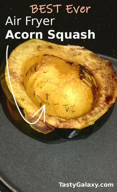 EASY Air Fryer Acorn Squash is so easy to make! Air fryer baked acorn squash is going to be your favorite fall side dish ever!