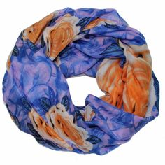 Floral Infinity Scarf - Purple and Orange Combo