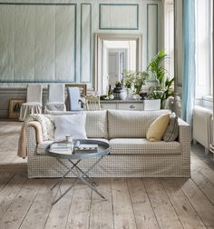 New fabrics from Bemz. Bemz cover for Karlstad 3-seater sofa, Loose Fit Urban style in Vreta Gingham Check Beige/White. Cushion covers, Loose Fit Urban in Absolute White Rosendal Pure Washed linen and Regular Fit in Vanilla Yellow Belgian Linen Blend. Henriksdal chair covers, Loose Fit Country in Vreta Gingham Check Beige/White and Blue/White, Loose Fit Urban style in Sandhamn Stripe Blue/White. www.bemz.com