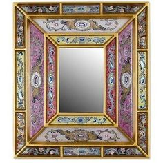 NOVICA Reverse Painted Glass Mirror with Floral Motifs from Peru