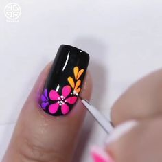 Neon Nail Art, Floral Nail Art, Neon Nails, Nail Art Diy, How To Nail Art, Nail Art Designs Videos, Nail Art Videos, Nagellack Design, New Nail Art Design