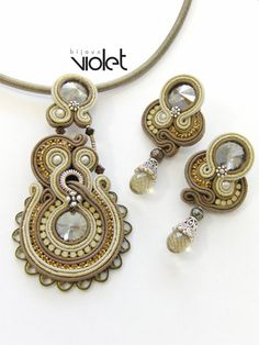 Soutache earrings and pendant with Swarovski by Violetbijoux, $159.00