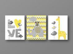 Lot de 3 illustrations pour chambre d'enfant et jaune et gris chevron : Décoration pour enfants par galerie-anais