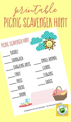 Free Printable - Fun Picnic DIY Scavenger Hunt For Kids Get the kids outside and moving as they explore nature and search for these summer items on this picnic themed scavenger hunt. Picnic Activities, Picnic Games, Kids Picnic, Picnic Theme, Summer Activities, Picnic Parties, Picnic Ideas, Beach Picnic, Summer Picnic