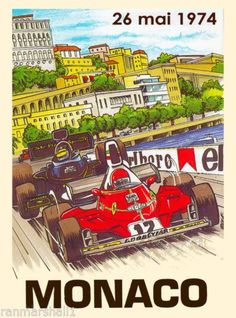 1974-Monaco-Grand-Prix-Automobile-Race-Car-Advertisement-Vintage-Poster