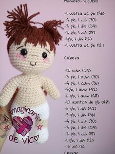 Patrón de Alondra (cuerpo en una sola pieza sin coser) Crochet Crafts, Crochet Dolls, Knitted Dolls, Crochet Clothes, Crochet Baby, Diy Crafts, Crochet Videos, Beautiful Crochet, Baby Dolls