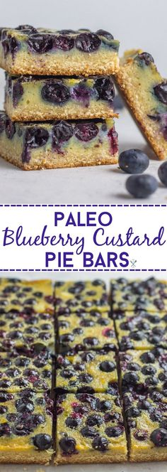 These nut-free, paleo blueberry custard pie bars are the best treat for spring! Gluten free, dairy free, naturally sweetened, and so easy to make.