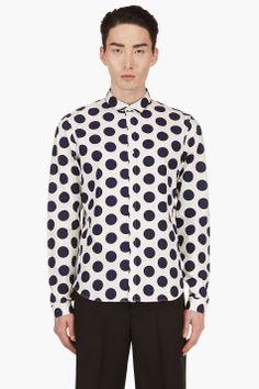 BURBERRY PRORSUM Navy & White Slim Fit Polka Dot Shirt