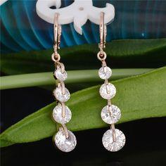 Free shipping Fashion New Women/Girl's 18k Rose Gold Filled pink CZ Diamond Pierced Dangle Drop Earrings Gift Jewelry