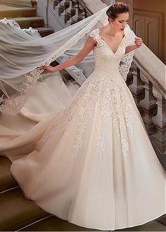 Buy discount Fabulous Tulle & Satin V-Neck A-Line Wedding Dresses With Lace Appliques at Dressilyme.com