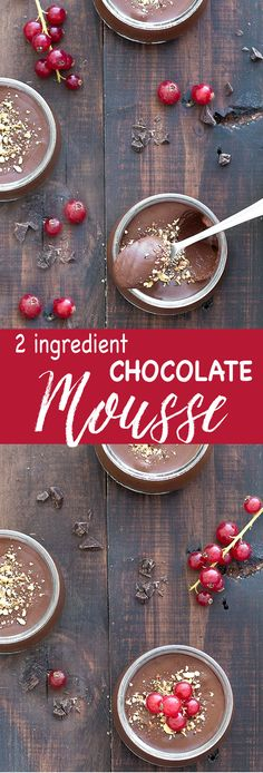 This creamy dark chocolate mousse is made with just 2 ingredients: chocolate and water. No fancy equipments, no chilling time, just a whisk, 10 minutes and elbow grease!