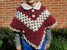 Christmas Girls Poncho - Crochet Poncho in Burgundy and Pastel mix - Christmas Gift for Girls - Bohemian Gift for her - Poncho with ties by ElenisCrochet on Etsy