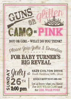 Gender Reveal Invitation - Guns or Glitter Gender Reveal - Camo or Pink Gender…