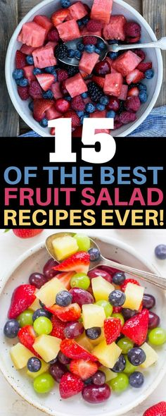 These fruit salad recipes are THE BEST! I am so glad I found these AMAZING easy & delicious summer fruit salad recipes. Now I can save time and money in the kitchen whipping up a healthy dessert for a crowd. Definitely pinning! #FruitSalad #SummerRecipes #FamilyFavorite #Yum #Healthy #Best