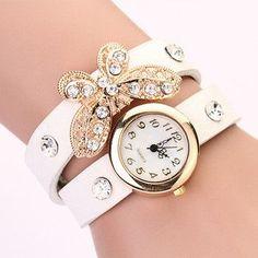 New women vintage leather strap watches,set auger butterfly rivet bracelet women dress watch,women wristwatch