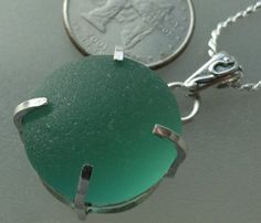 Turquoise Bauble Sea Glass Sterling Silver Bezel Set by HLSEAGLASS
