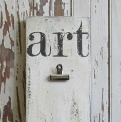 READY TO SHIP 2 Clip Art Gallery Display Sign, White Vertical Handpainted Distressed Wooden ,  Great Photo Collage Centerpiece Wall Art.