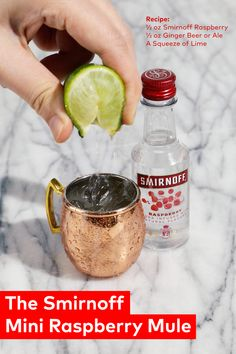 Saying mini mule is almost as fun as making one. The Smirnoff Mini Raspberry Mule Recipe: ½ oz Smirnoff Raspberry, ½ oz ginger beer or ale, a squeeze of fresh lime juice. Holiday Drinks, Party Drinks, Summer Drinks, Cocktail Drinks, Fun Drinks, Cocktail Recipes, Alcoholic Drinks, Beverages, Cocktails