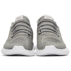 adidas Originals Grey Tubular Shadow Sneakers (130 CAD) ❤ liked on Polyvore featuring shoes, sneakers, adidas originals trainers, laced shoes, grey trainers, grey sneakers and round toe shoes