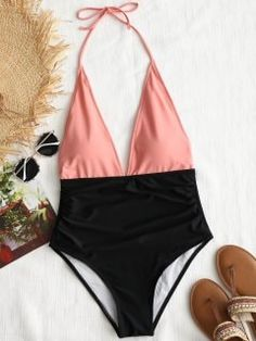Color Block Halter One Piece Swimsuit - Orangepink M Swimwear Model, Swimwear Sale, Swimwear Brands, Swimwear Fashion, Halter One Piece Swimsuit, Women's One Piece Swimsuits, Bikini Inspiration, Glamour, One Piece For Women