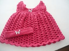 Pomegranate Pink Newborn Dress and Hairband for a Baby Girl £18.00