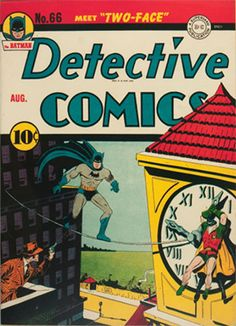Another early and classic Batman villain is Two-Face. He first appears in Detective Comics In Two-Face was ranked on IGN's list of the Top 100 Comic Book Villains of All Time, making him one of the greatest comic book villains in the world of comics. Rare Comic Books, Comic Book Villains, Batman Comic Books, Comic Book Covers, Comic Books Art, Comic Art, Book Art, Batman Detective Comics, Batman Comics