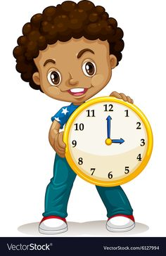 African American boy holding a clock Royalty Free Vector Flashcards For Kids, Kids Math Worksheets, Telling Time Activities, Activities For Kids, Math Patterns, Page Borders Design, Powerpoint Background Design, Kids English, Preschool Math