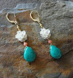 Turquoise coral flower earrings by Tootsiejos on Etsy, $24.00