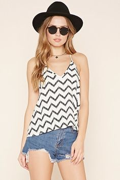 Abstract Zigzag Cropped Cami