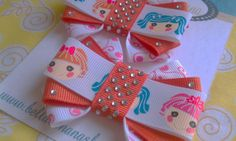 LALALOOPSY Set of 3 Orange & Pink Hair Bows by BellaBananaShop