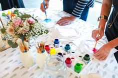 DIY cute baby shower activity that you'll actually want to keep - watercolor onesie decorating.