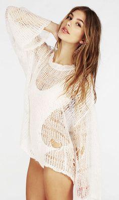 2014 moda tricô Crochet com em forma de coração buraco cor sólida Swim Cover Up praia pano mulheres verão o pescoço camisola solta em Pulôvers de Roupas e Acessórios Femininos no AliExpress.com   Alibaba Group