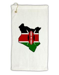 """Kenya Flag Silhouette Micro Terry Gromet Golf Towel 11""""x19"""