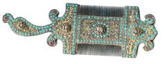 Encrusted comb, horn , gilt silver with inlaid turquoise, Uzbekistan late 19th c (Archives sold Singkiang)